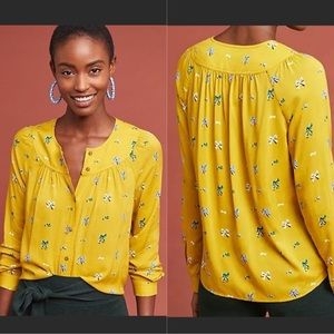 Anthropologie 52 Conversations Mustard Bow Blouse